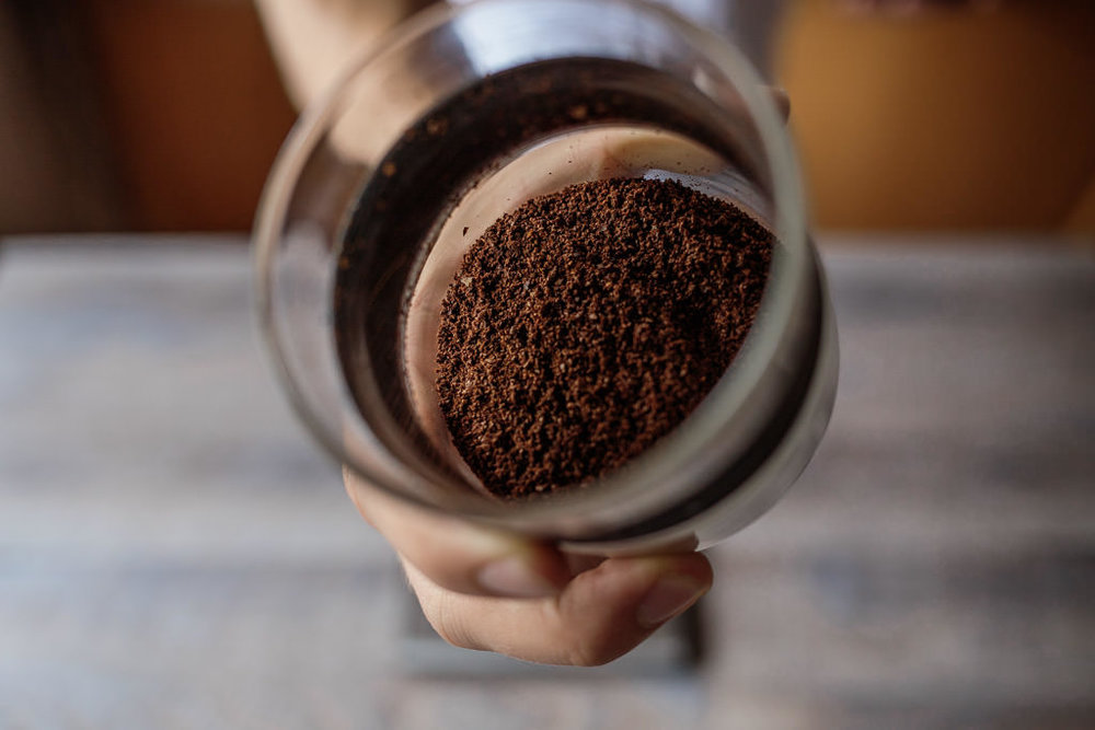Example of freshly ground coffee