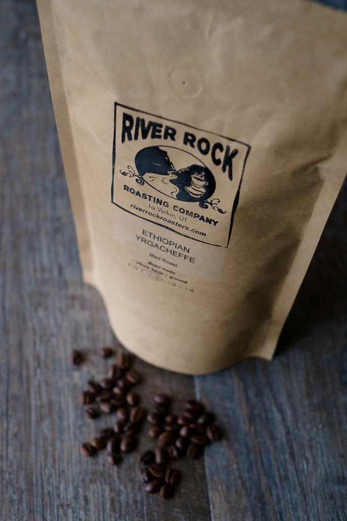 Freshly roasted coffee from local roaster River Rock Utah
