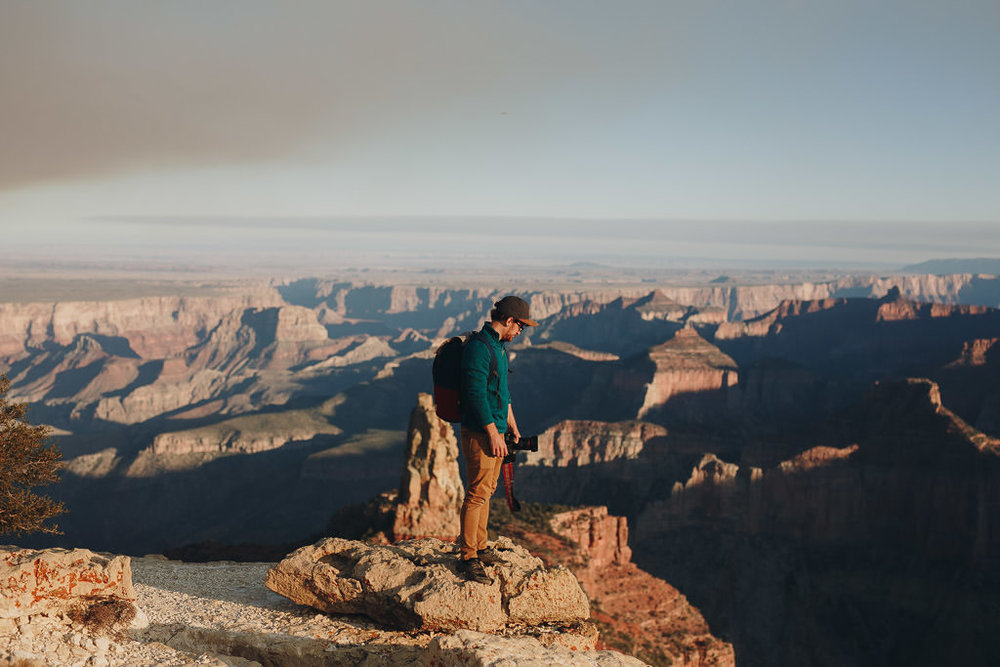 Adventure portrait with the Grand Canyon in the background
