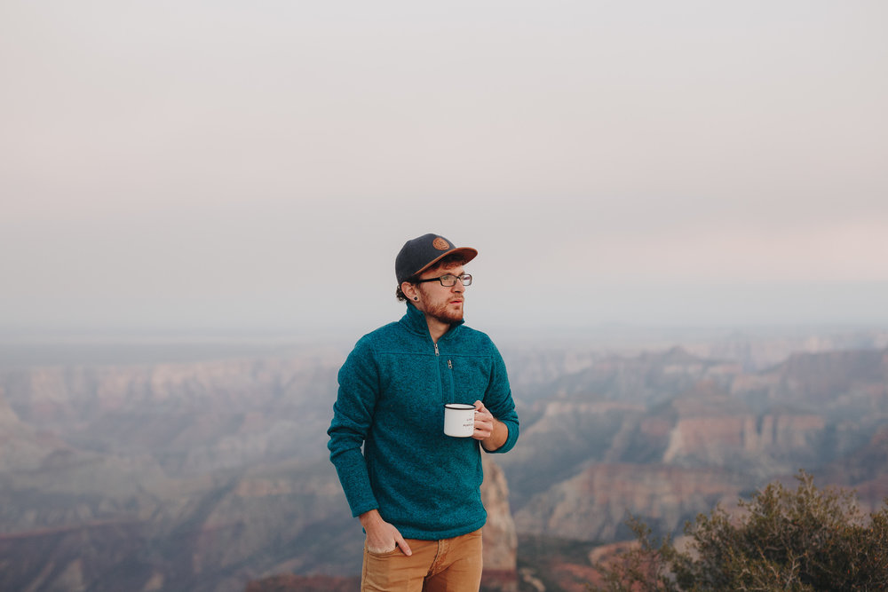 Sipping coffee at the Grand Canyon