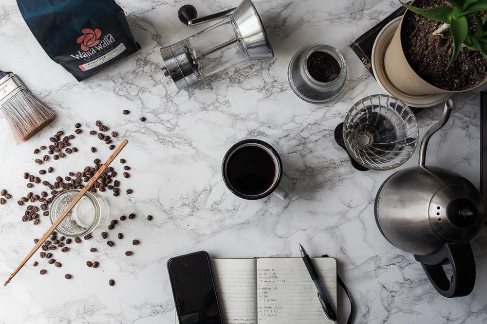 Walla Walla Roastery Ethiopia Kochere pour over coffee on table