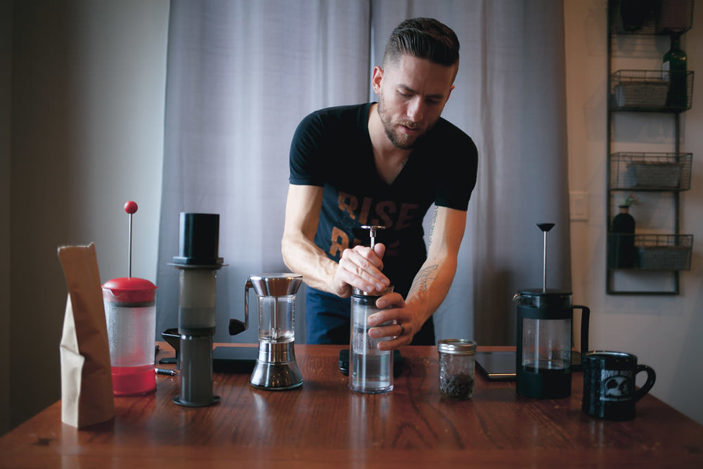 Brewing aeropress american press french press side by side