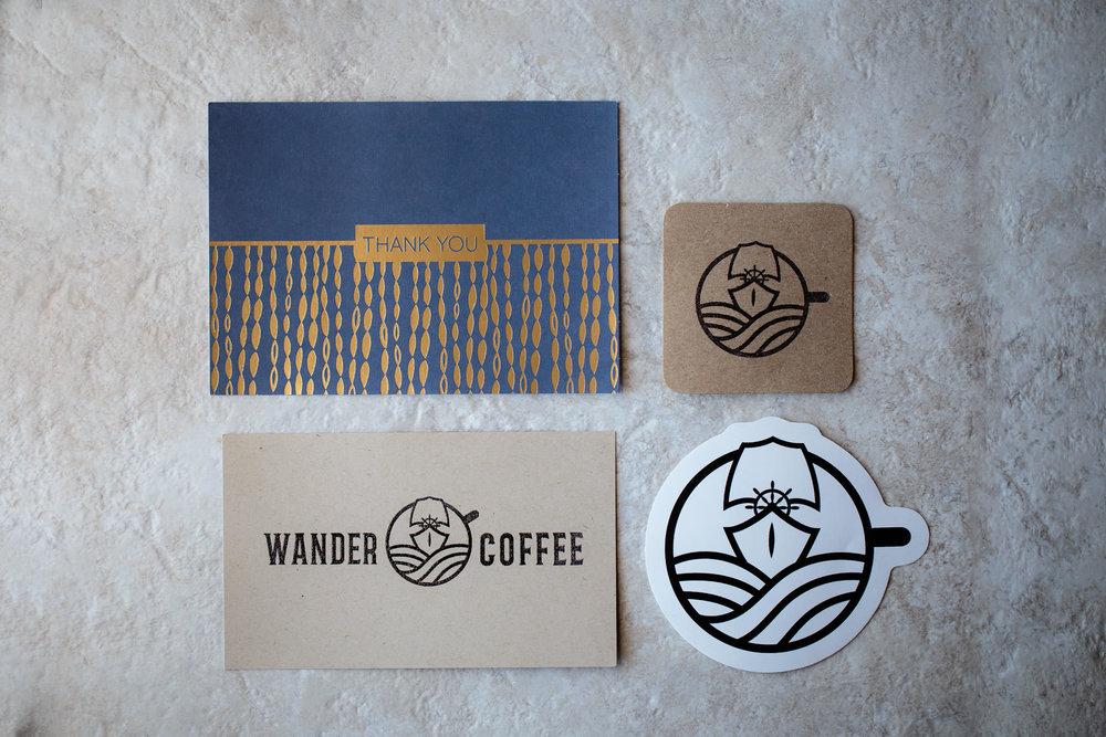 Wander coffee roaster paper goods branding
