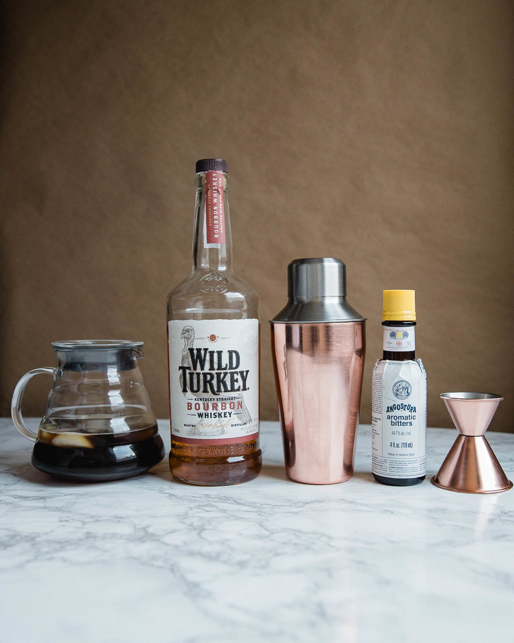 Ingredients for coffee and whiskey cocktail