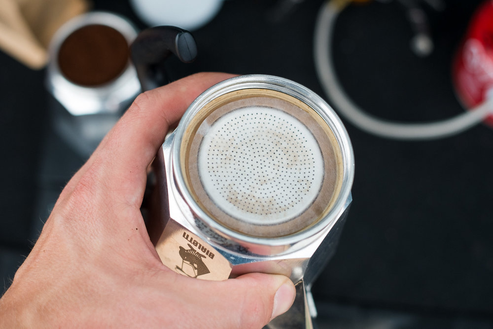 Additional filtration using an Aeropress filters moka pot brew guide