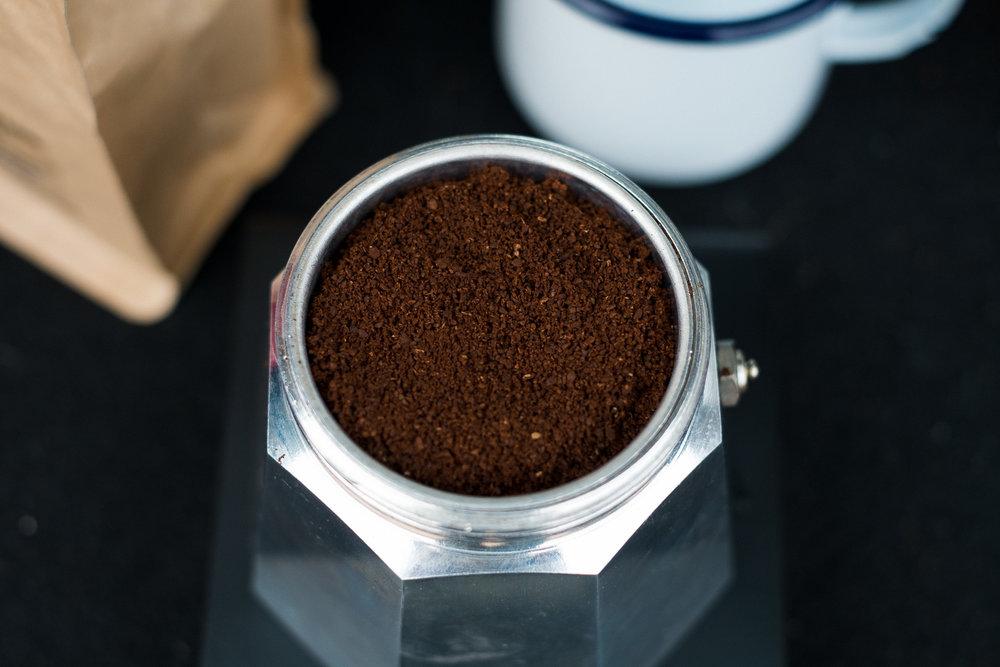 Use a fine espresso like grind for Moka Pot coffee brewing