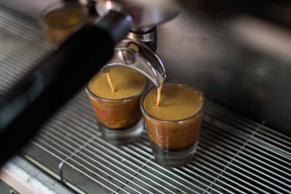 Espresso Machine pulling shots with a thick, visually appealing crema