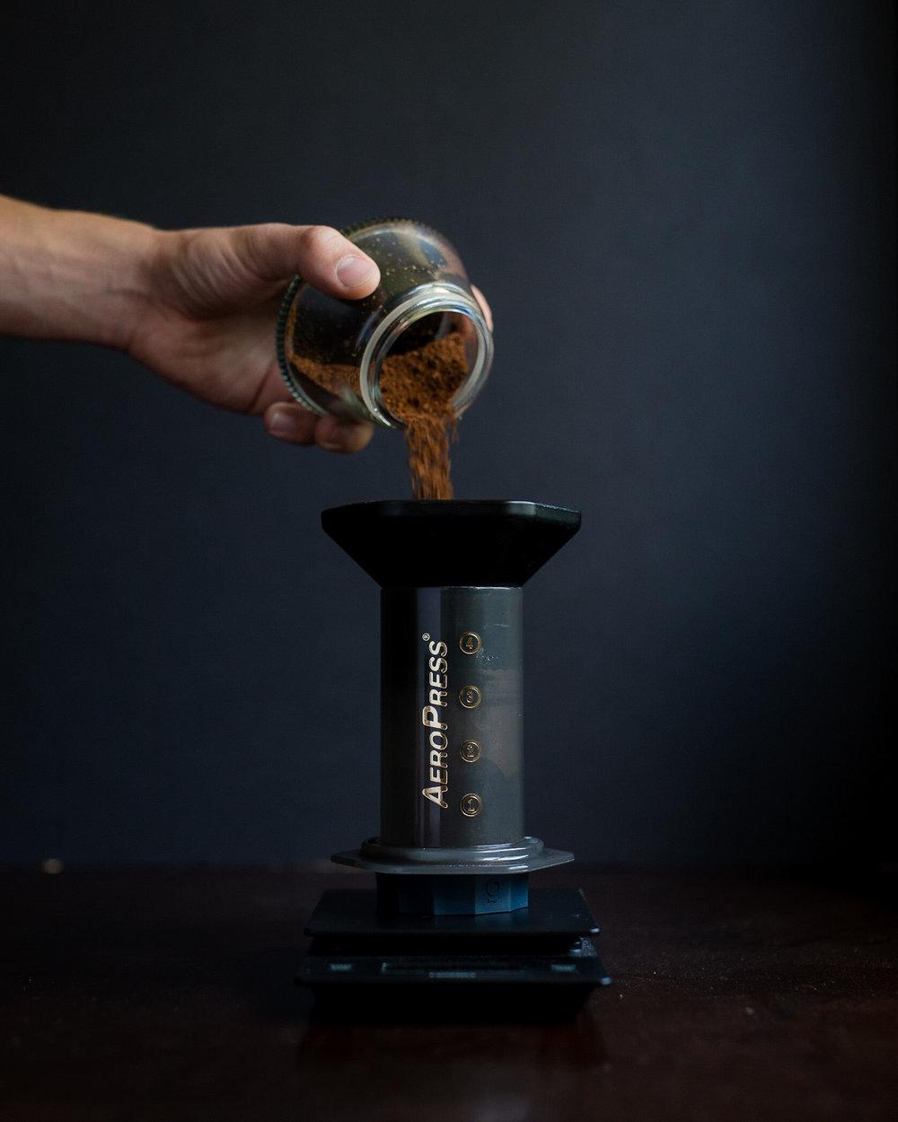 Add the ground coffee to the Aeropress