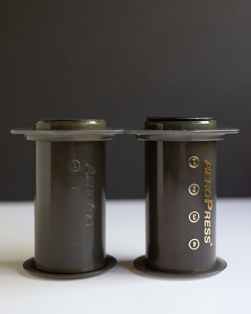 Off-Brand gasket (left) compared to brand new Aerobie Aeropress gasket (right)