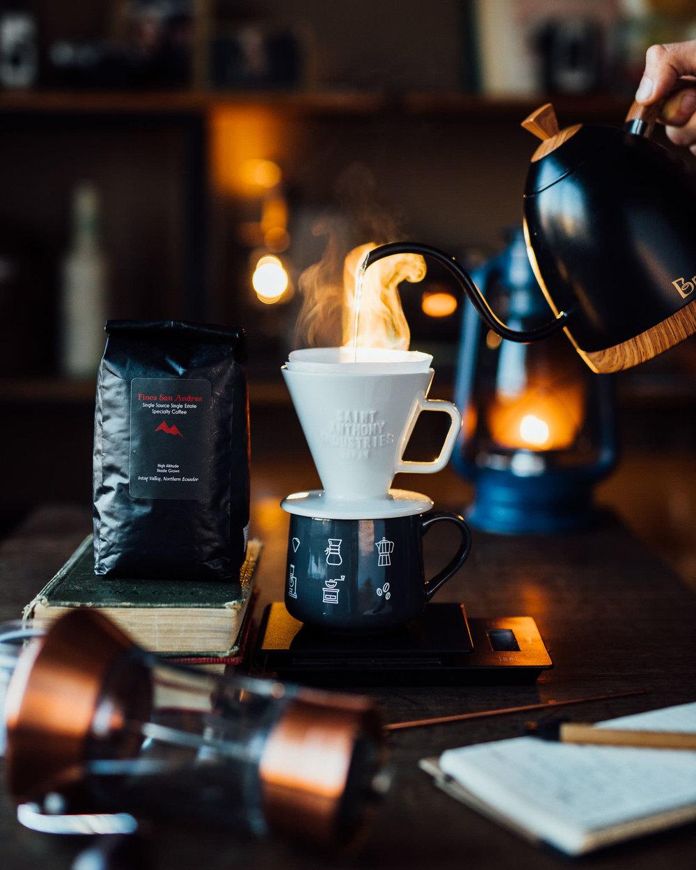 Pour over C70 coffee dripper Finca San Andres single origin coffee from Ecuador