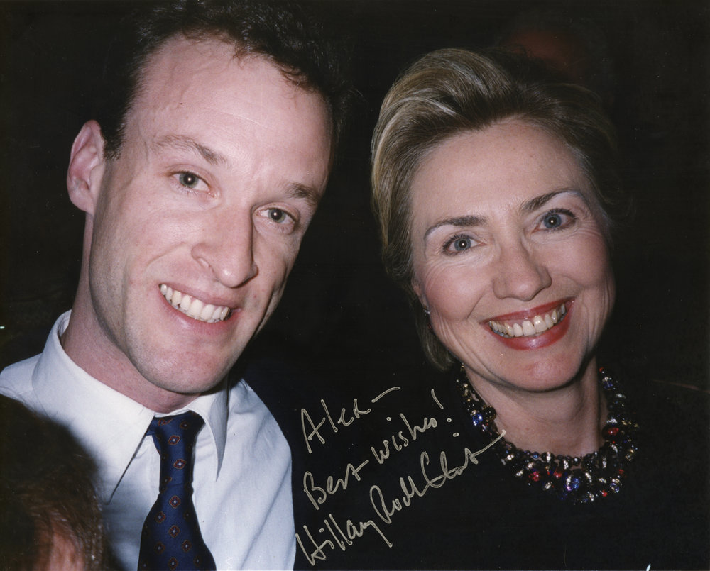 Alex Vonfurstenberg with Hillary Clinton, signed, 2000.