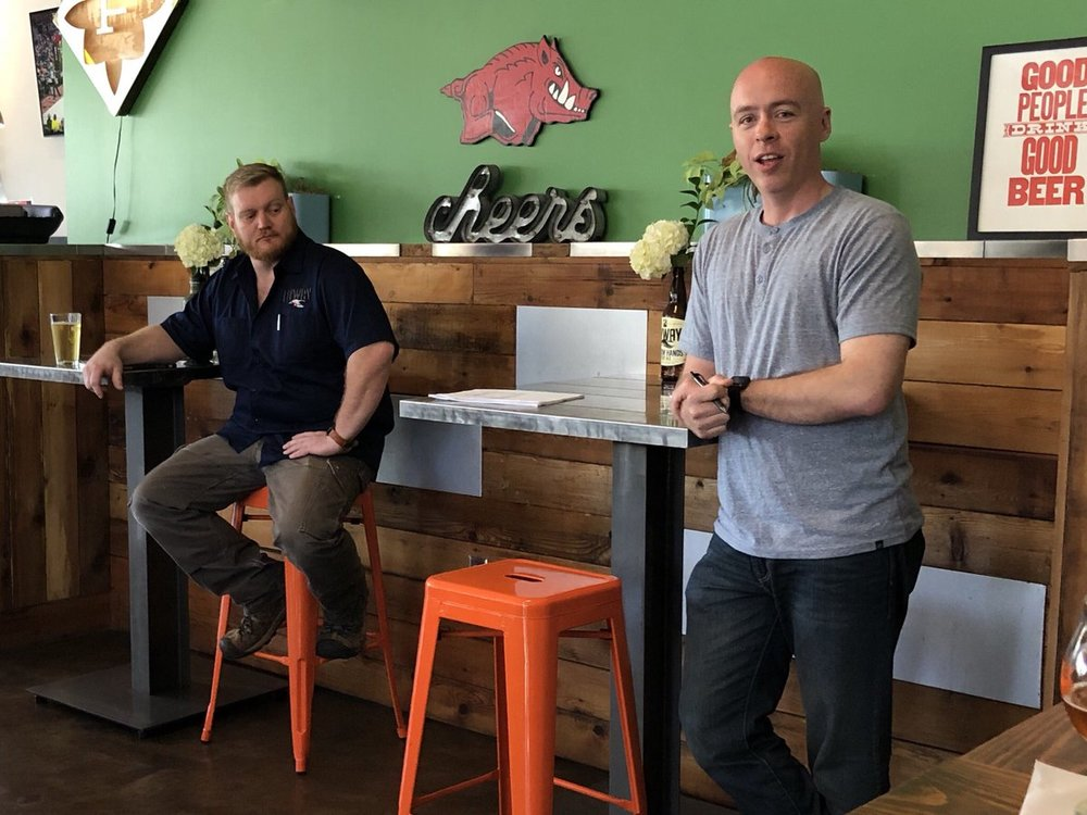 Here I am giving a talk on Arkansas beer at Flyway Brewing this past Sunday as a part of the Arkansas Literary Festival. Also pictured is Flyway brewer and Sunday's moderator, Tim Berkley.  Thanks to Joel DiPippa for catching me in a semi-scholarly pose.