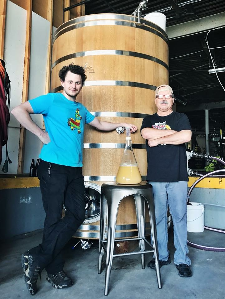 Omar Castrellon (pictured right) poses with fellow Lost Forty brewery Grant Chandler. Castrellon helped open River Rock Brewery in 1997 and Lost Forty in 2014. His contributions to Arkansas beer have been significant and span two decades.  Photo courtesy Lost Forty Brewing Co.