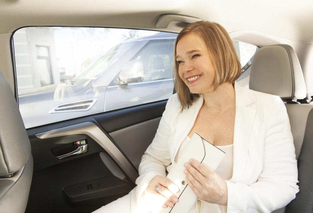 sylvia in car