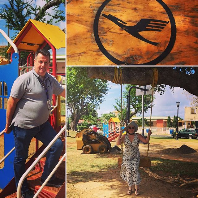 "Beautiful example how one of my corporate clients translates #socialresponsibility into contributing to local betterment of the environment for families with kids and the local neighborhood community: Lufthansa Technik ✈️ Puerto Rico 🌺sponsorts the revitalization of a park 🌴 adding a children's playground 🦄 and financing and paying the bi-weekly maintenance service.  CEO 💼 Pat Foley tested one of the climbing castles today at the new ""Ramey Childrens Park"" donated by Lufthansa Technik Puerto Rico in Aguadilla. And I took my inner little girl on a ride on the swing which had my client's logo burned into it: the Lufthansa crane! 😍🏝🌸😎 #greatCEO #authenticleadership #corporationsgivingback #positiveimpact #proudtobeatopexecutivecoach #beckerhillwomensempowermentschool"