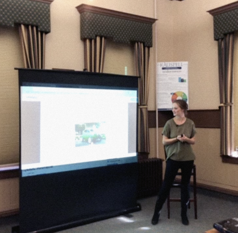 Founder Blanck giving a talk to the Kalispell Chamber of Commerce titled ' Social Media: Why High Tech Is A Blue Collar Businesses Best Friend' .