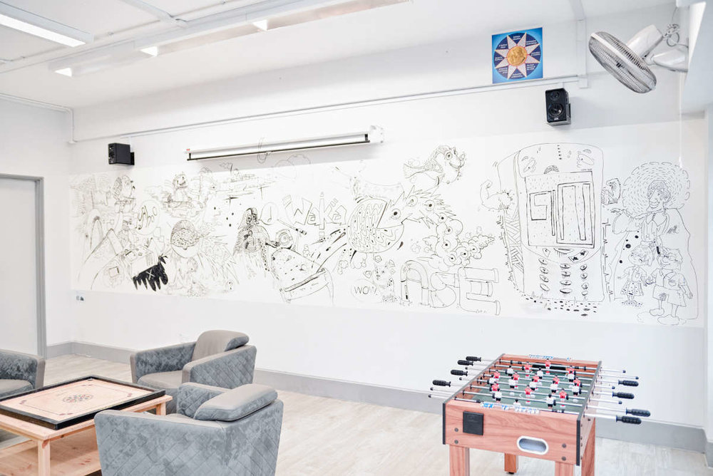 Copy of Assumption English School - Dry Erase IdeaPaint walls breaks the boundaries of traditional whiteboard panels.