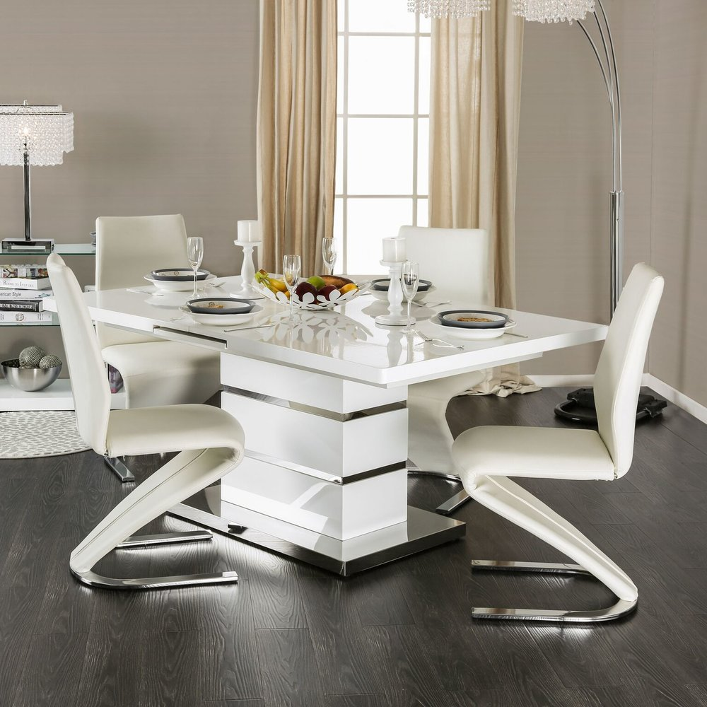 Marge Contemporary Dining Set In White And Chrome