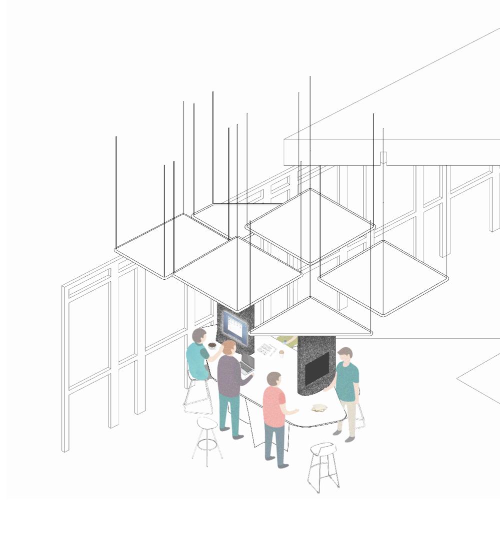 """Projet de bureaux - Ces dernières années, la presse est le média écrit avec la plus forte évolution, nous émettons l'hypothèse d'une nouvelle organisation du travail afin de s'appliquer au mieux à cette dernière. """"Vers une nouvelle organisation"""" est un projet basé sur une nouvelle approche de l'information, celle-ci devient continue et instantanée. Pour remplir cet objectif nous proposons une hiérarchie linéaire plus adéquate à une structure de travail collaborative et un nouveau processus de validation des articles. L'espace favorise une plus grande mobilité entre les collaborateurs ainsi qu'entre les secteurs, permettant aux journalistes de partager leurs savoirs et leurs univers. Il est, dans certaines proportions, adaptable par l'utilisateur afin de permettre une appropriation et ainsi un confort recherché par tous."""
