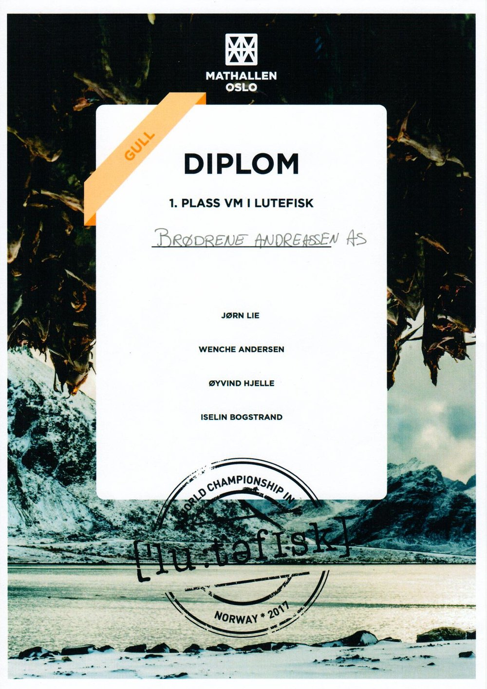 VM i Lutefisk 2017 - Diplom 1. Plass - Brødr. Andreassen Værøy AS.jpg