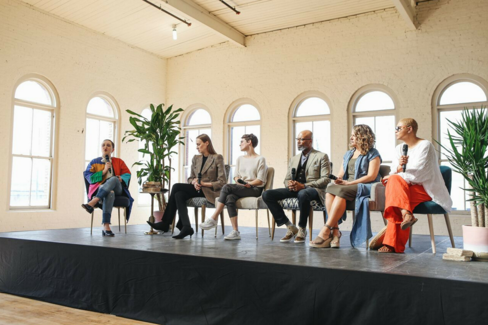Panel two. Pictured (left to right): Whitney of  Fashionista , Davora of  Prairie Underground , Carly of  Keen Footwear , Dre and Len of  EcoVibe Apparel  and Angela of  FAAS/ Pensole
