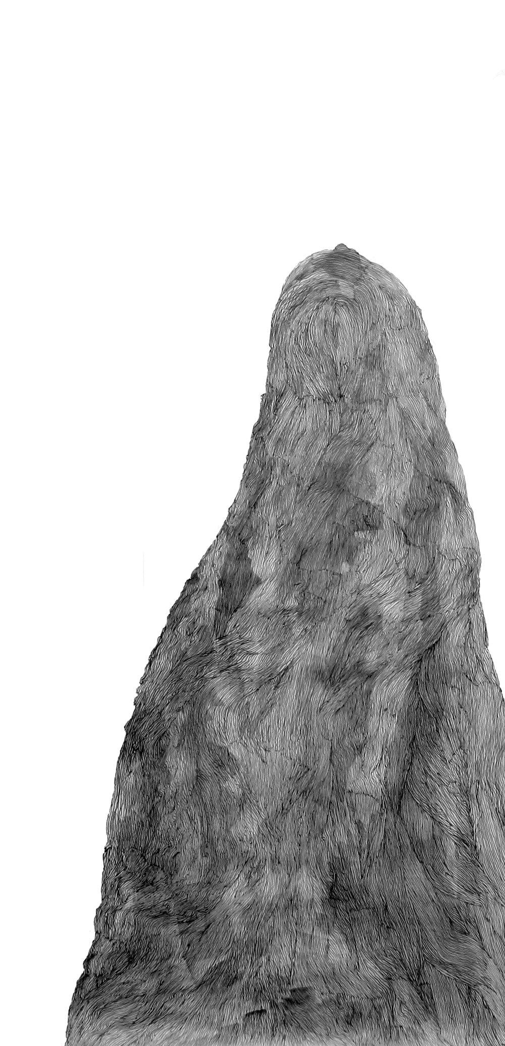 Fur Mountain ,Pencil on paper, 150 x 68 cm, 2017