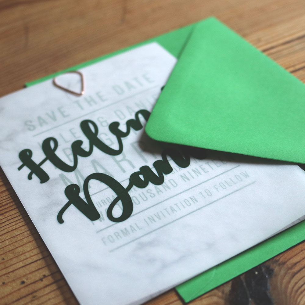 Marble Silk Card with Trace Overlay and Green Envelope
