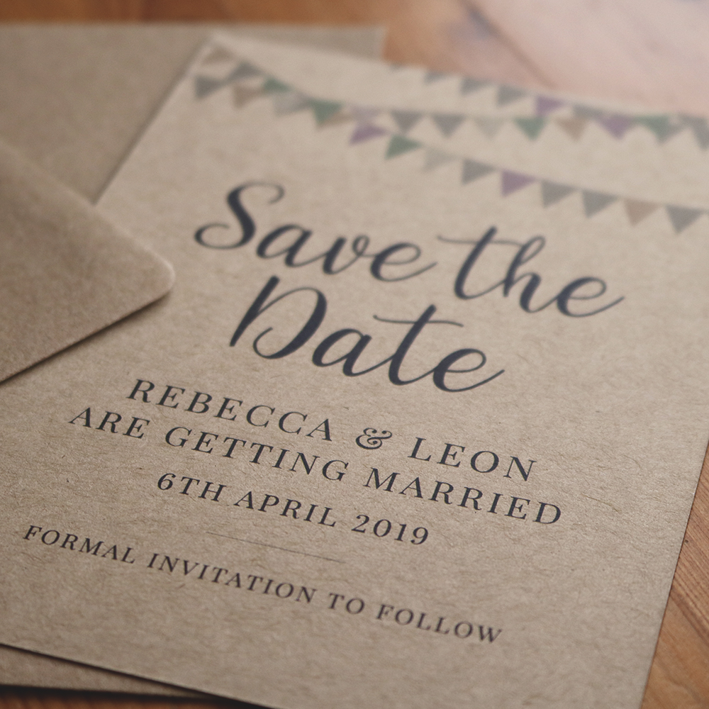 Kraft A6 Save the Date with Bunting detail and Kraft Envelope