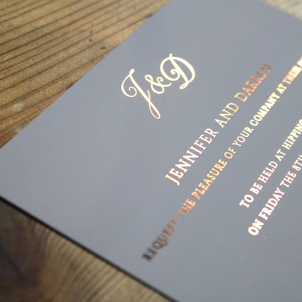 A6 Silk Card printed with Foiling on Blush Pink