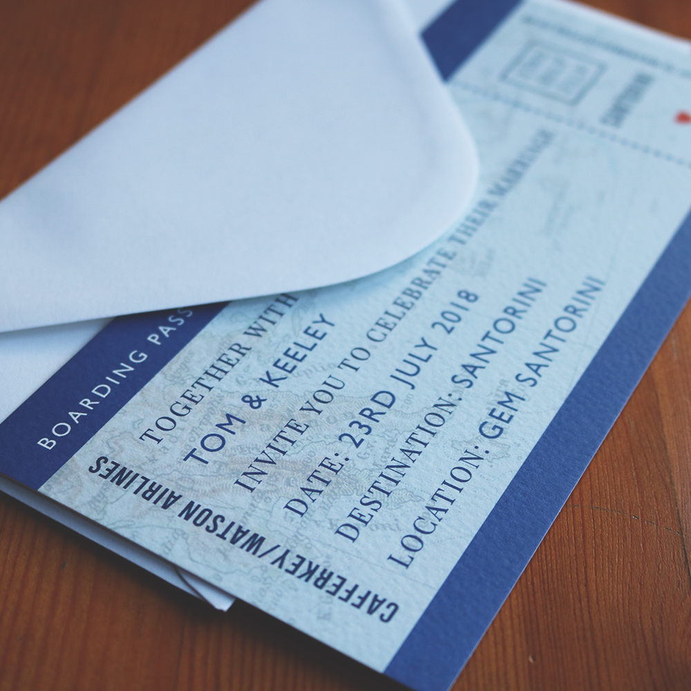 Boarding Pass style Save the Date Printed on Hammered Card and DL Size