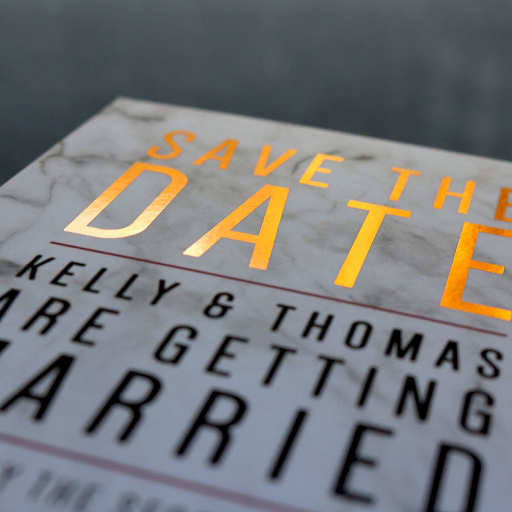 A6 Save the Date Printed on Silk Card with Copper Foil & Marble
