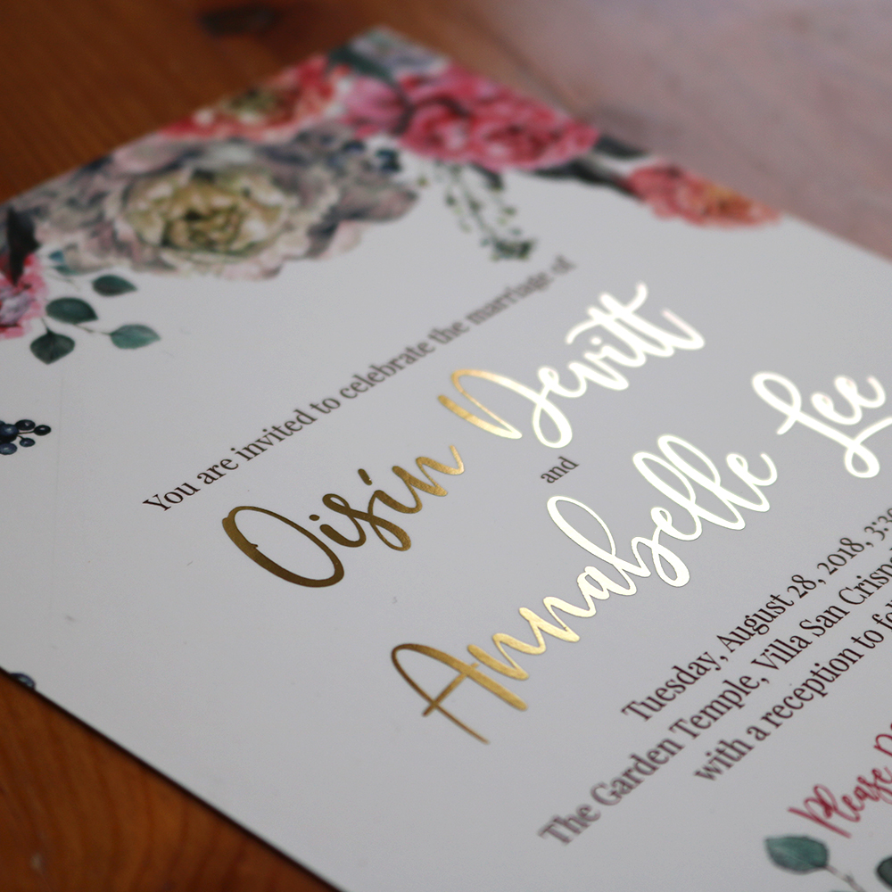 Floral and Gold foil wedding invitation created for Wedding.Belle