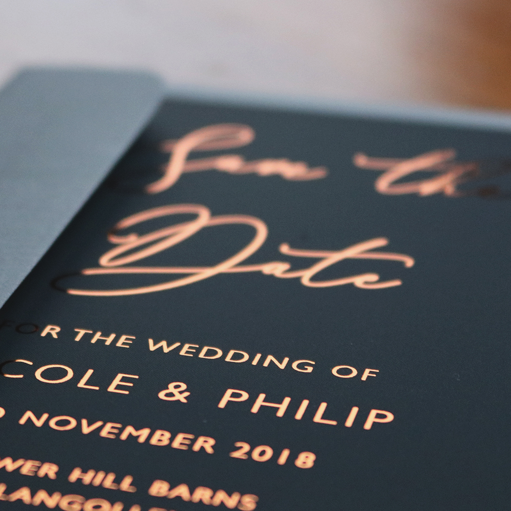 Beautiful copper foiling with charcoal contrast Save the Date