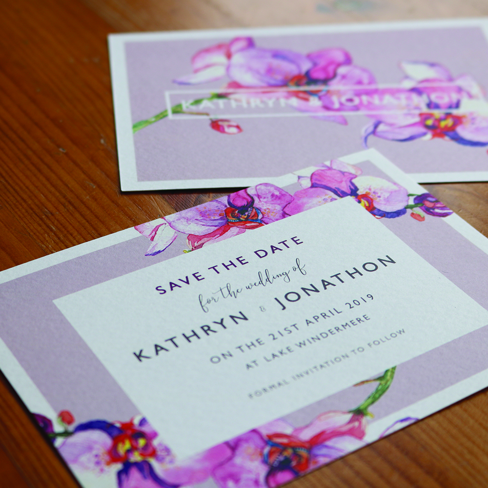 Floral save the dates printed on Laid card