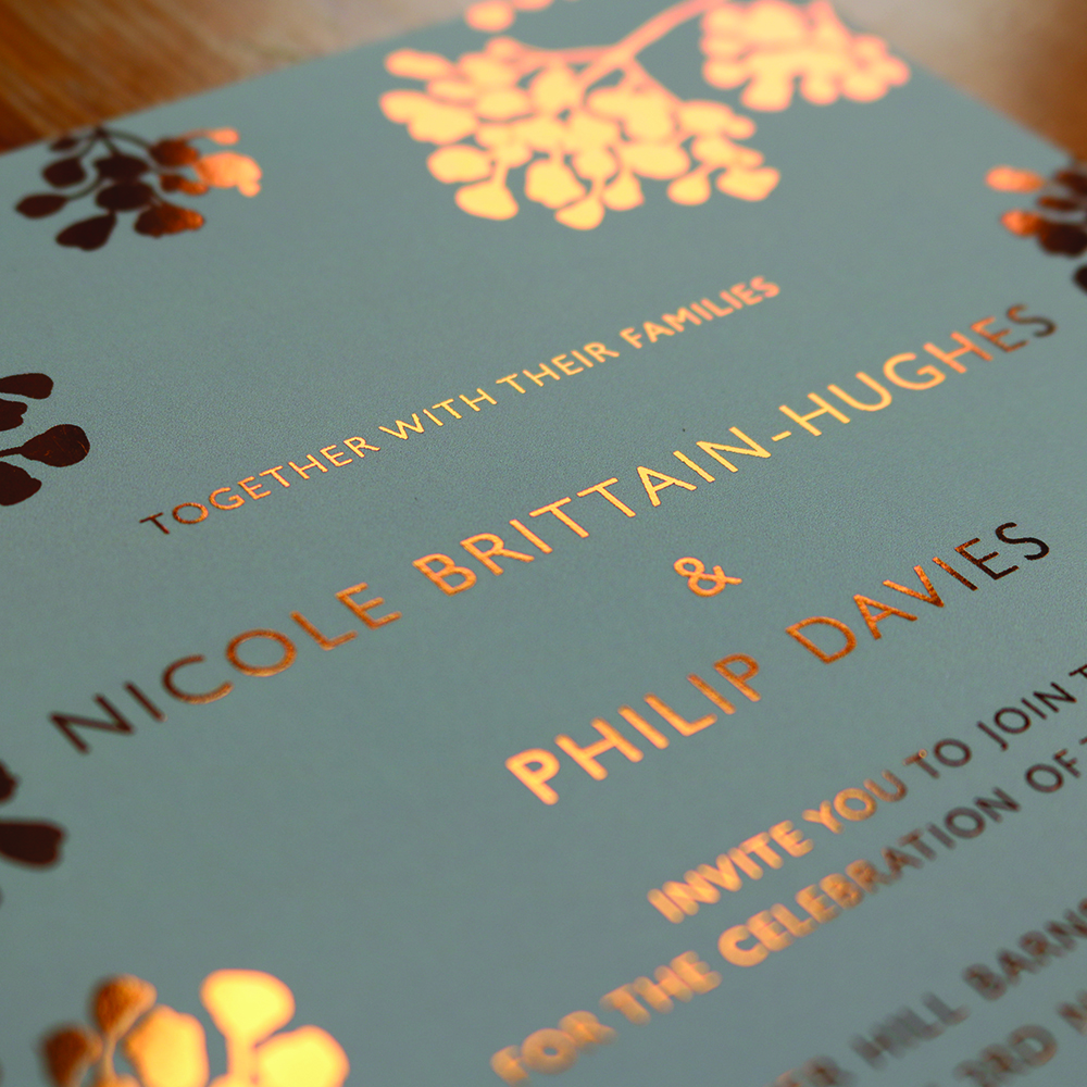 Baby's Breath copper foiled invitations printed on Silk card