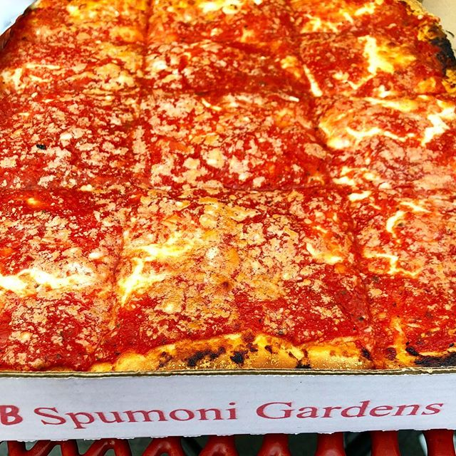 We ate this... . . . #choice #pizza #spumoni #sicilian #yum #hot #cheesy #brooklyn #bk #nyc #ny #newyork #newyorkslice #slice #eat #enjoy #fall #splurge #weekend