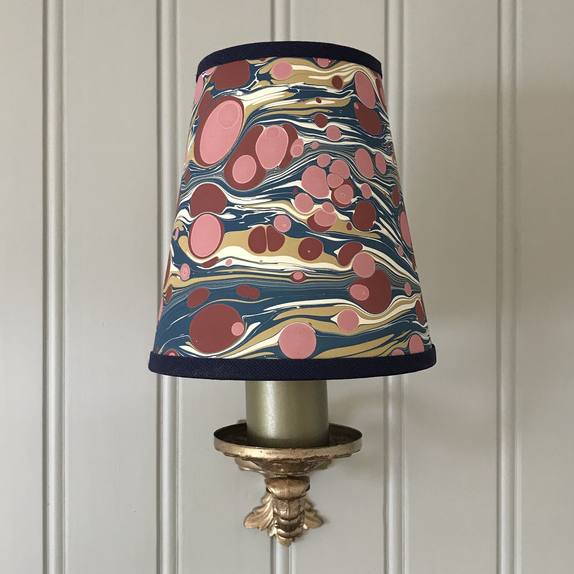 Hand Marbled Fantasy Zebra Small Candle Clip Lampshade Carbon Velvet