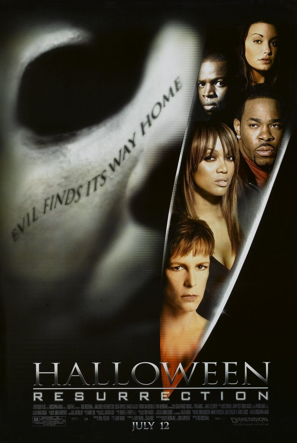 """Halloween Resurrection - Despite having Halloween II director Rick Rosenthal at the helm, Halloween Resurrection ended up being a trainwreck. I don't know any self-respecting Halloween fan that was happy with this movie, its terrible plot, and even worse acting. People trash Halloween III and say it's """"not part of the series"""", but let's be real here, this movie is the one that deserves that distinction."""