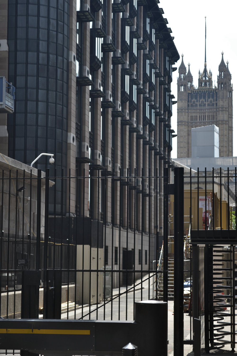 Layers of security - Portcullis House and Victoria Tower as viewed from Derby Gate