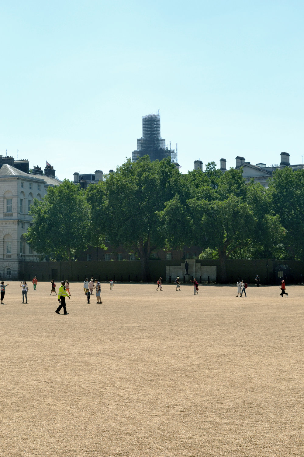 Elizabeth Tower scaffolding visible from Horse Guards Parade