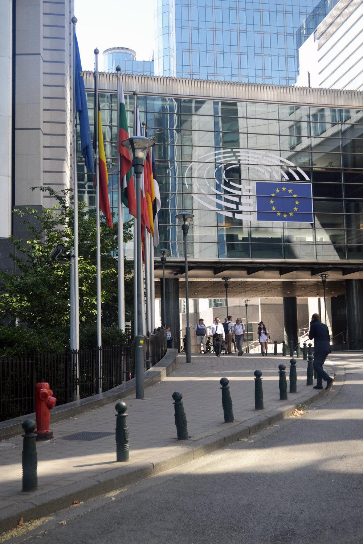 A view up Rue Wiertz towards the protocol entrance of the Paul-Henri Spaak Building, part of the Espace Leopold (European Parliament Complex)