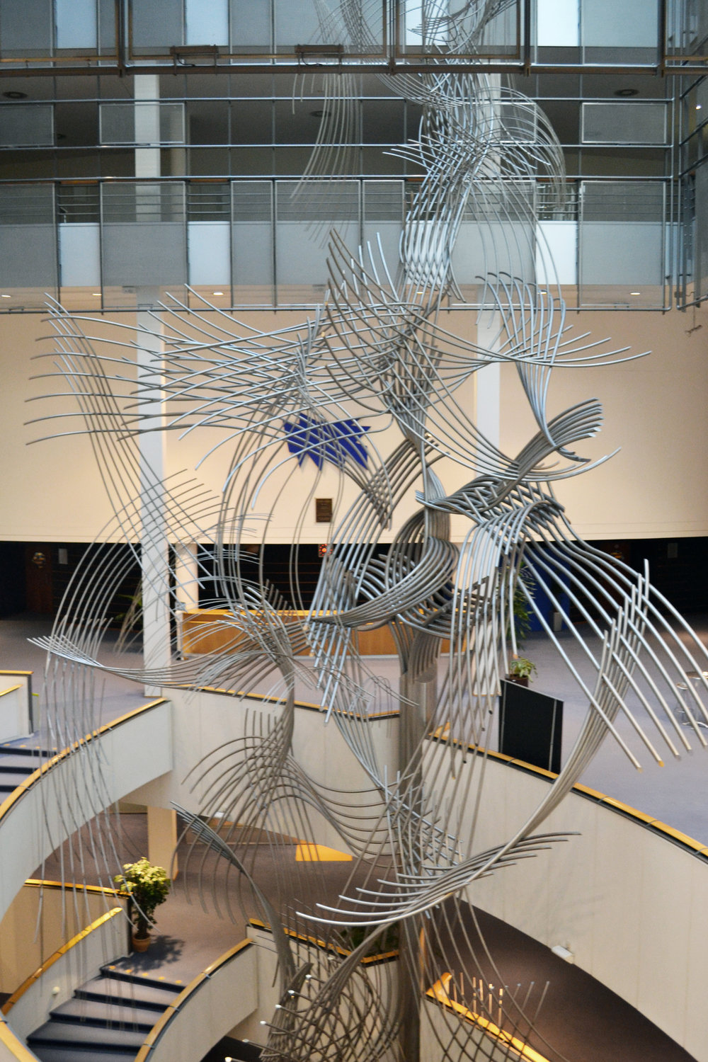 Sculpture at the centre of the PHS building intended to represent the connections between all European people