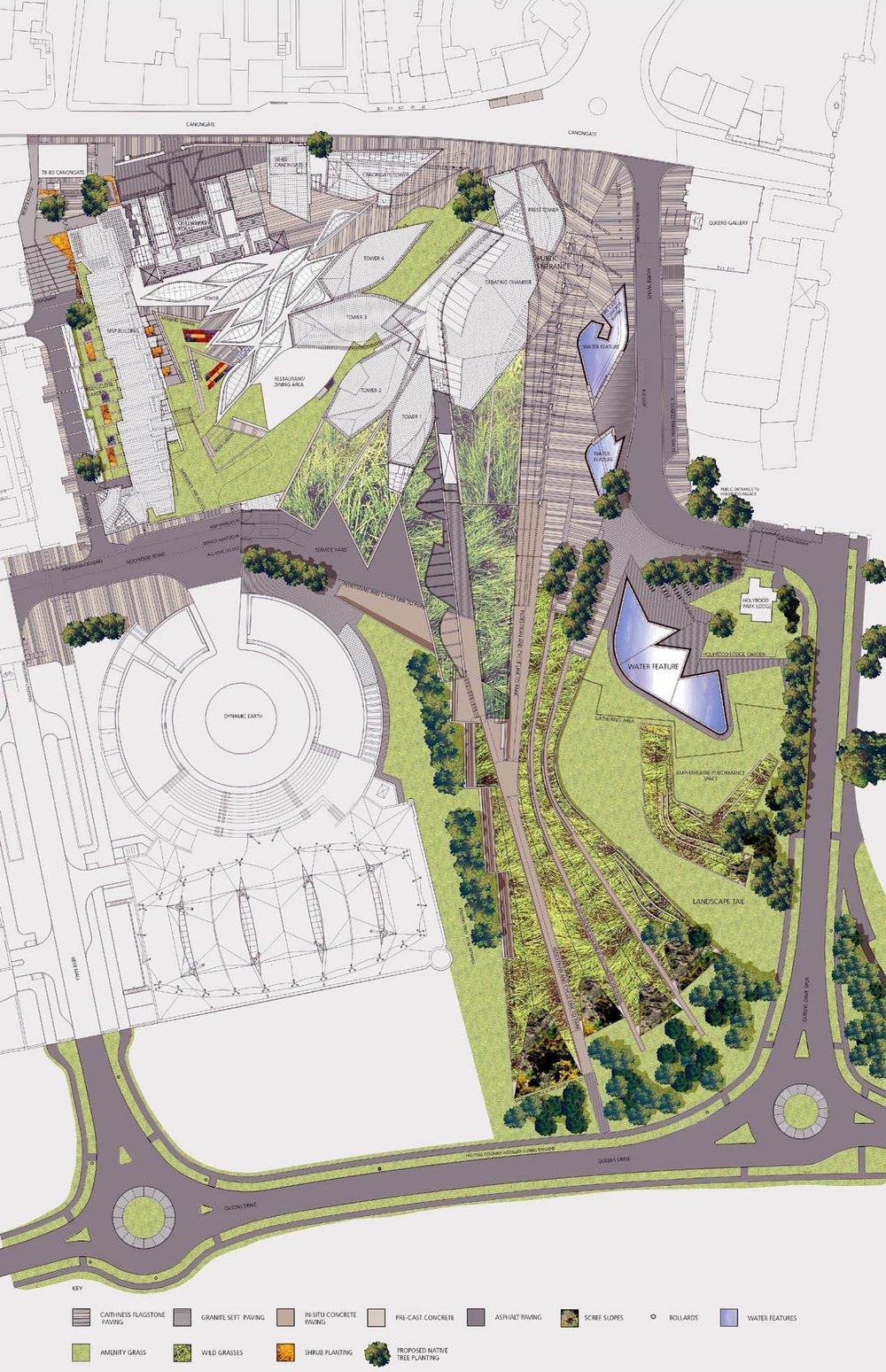 Above: Scottish Parliament Landscape Plan (Source: Scottish Parliament)