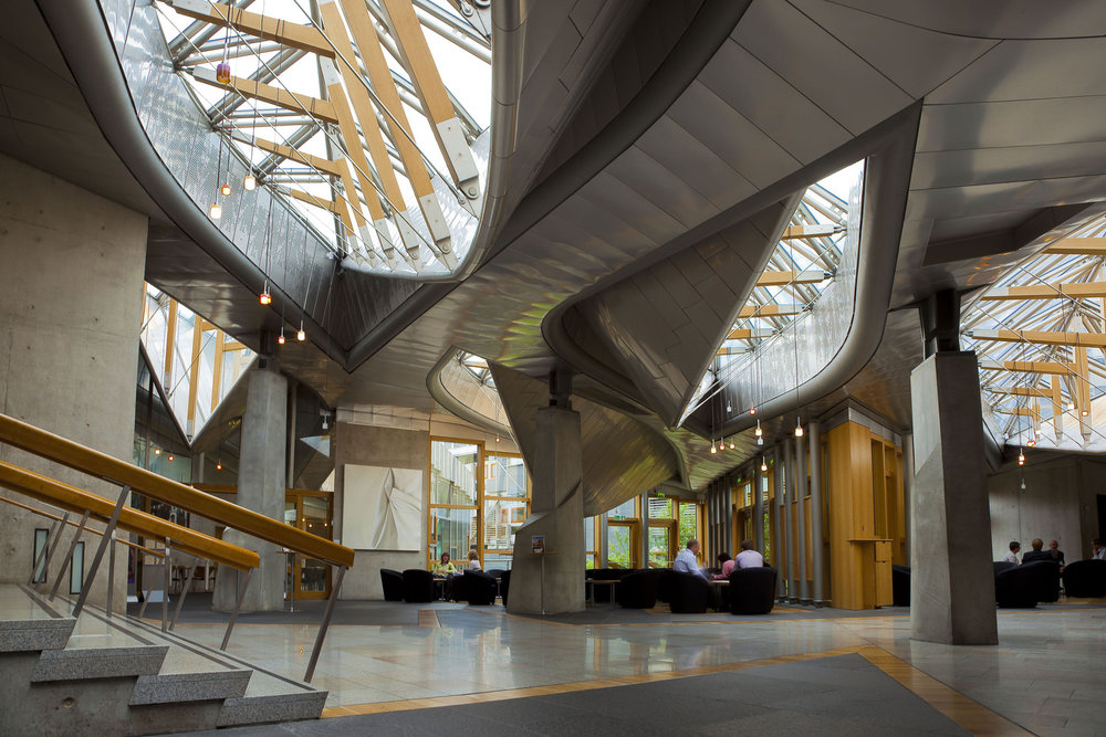The Garden Lobby with the 'upturned boat' rooflights (Source: Scottish Parliament)