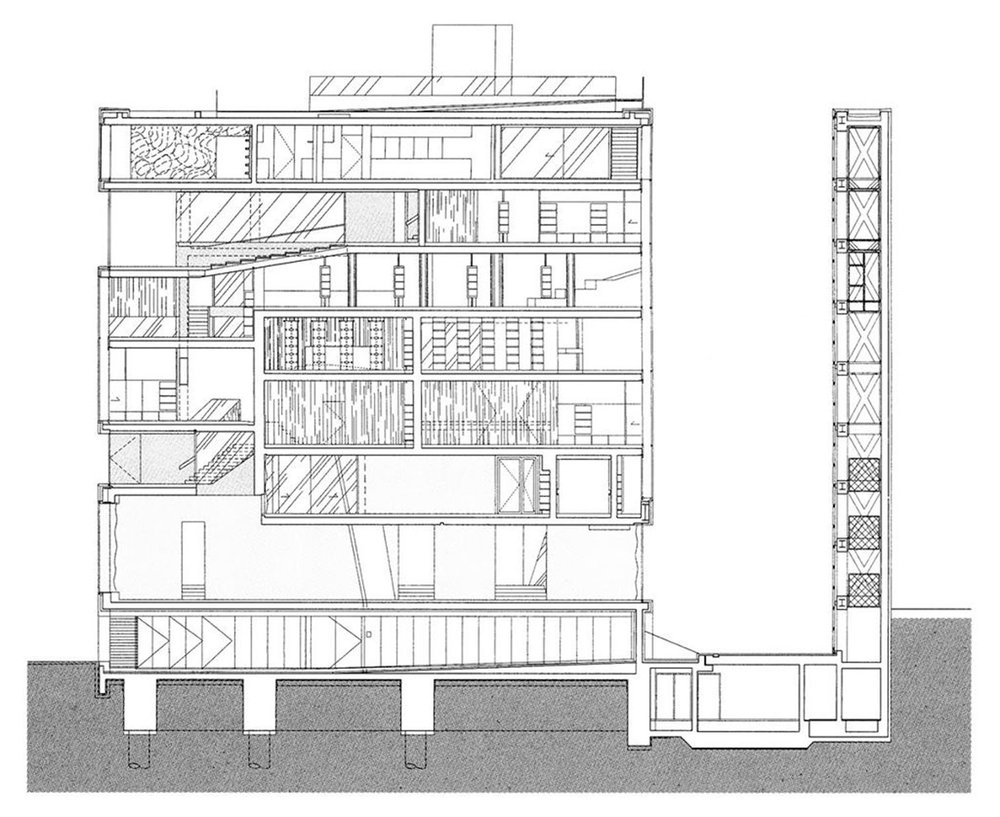 Section of Netherlands Embassy, Berlin (Source: Office for Metropolitan Architecture)