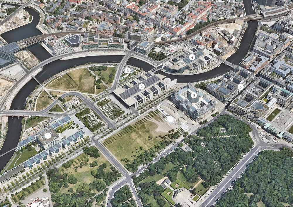 1)  Chancellory  2)  Paul Löbe Building  3)  Reichstag  4)  Marie-Elisabeth Lüders Building  5)  Jacob Kaiser Building  6)  Day Nursery