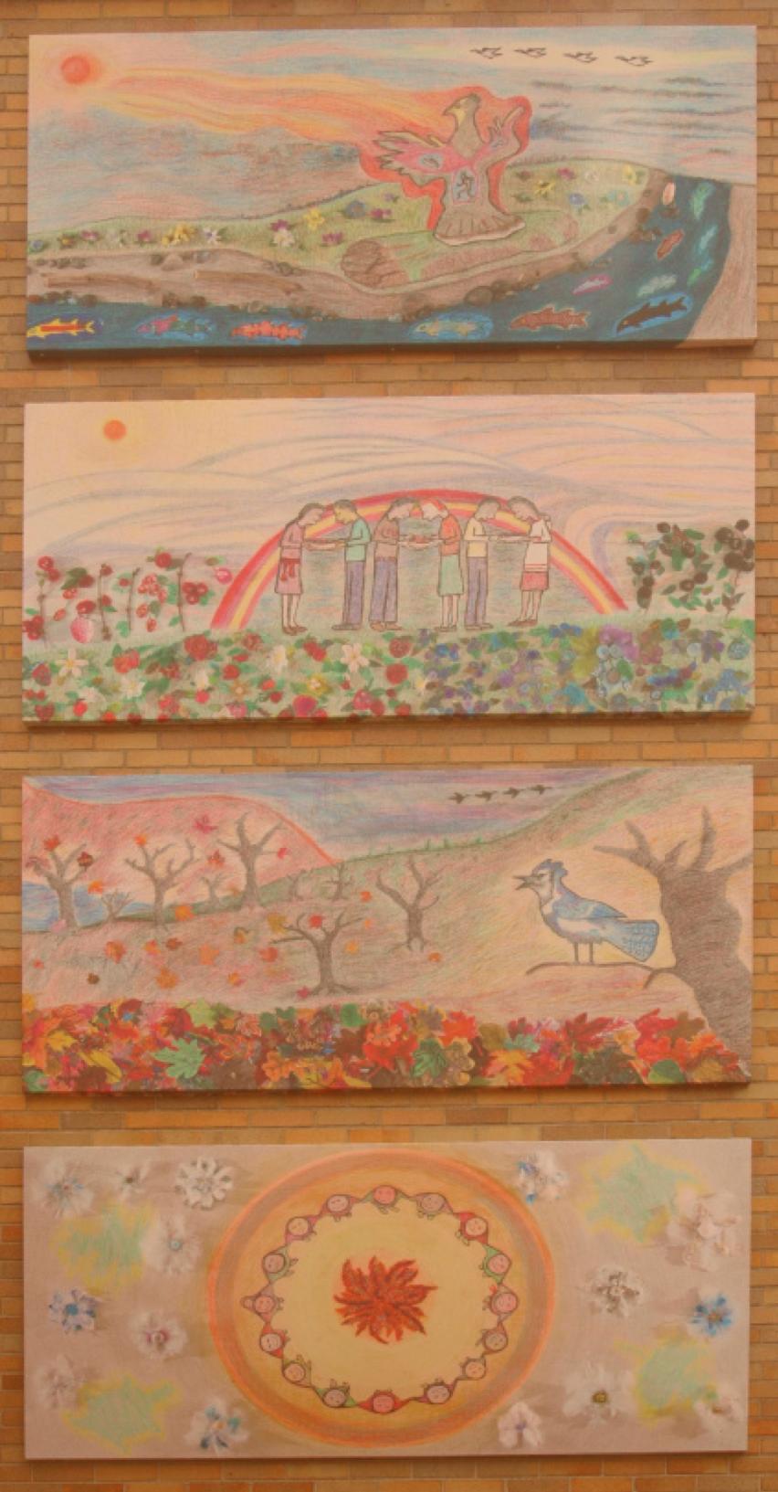 Projet héritage inaugural - MÀMAWI ENSEMBLE MURALE D'ARTPour honorer la publication du rapport final de la Commission de vérité et réconciliation et les survivants des pensionnats, un projet spécial murale d'art et d'éducation a eu lieu en 2015. Aîné Algonquin et l'artiste Albert Dumont a dirigé tous les élèves de l'école Pleasant Park et certains d'École secondaire Ridgemont à la création de la murale d'art à l'école Pleasant Park. Quand elle a été dévoilée le 10 juin 2015, la communauté élargie a rejoint l'acte de réconciliation. Cela a été rendu possible grâce au soutien de nombreux bénévoles des parents, de l'école et de la communauté, de la subvention murale Paint-it-Up de la Ville d'Ottawa et d'autres bailleurs de fonds communautaires et commerciaux.