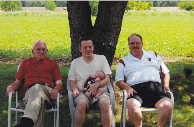 Four generations of Lockes, including (left to right) Jeff's father and former Fayette County and Ninth District Chair Sam Locke, Jeff's son and former President of the Indiana Young Democrats Samuel Locke (Jeff's son) and his daughter Molly Locke, and Jeff Locke