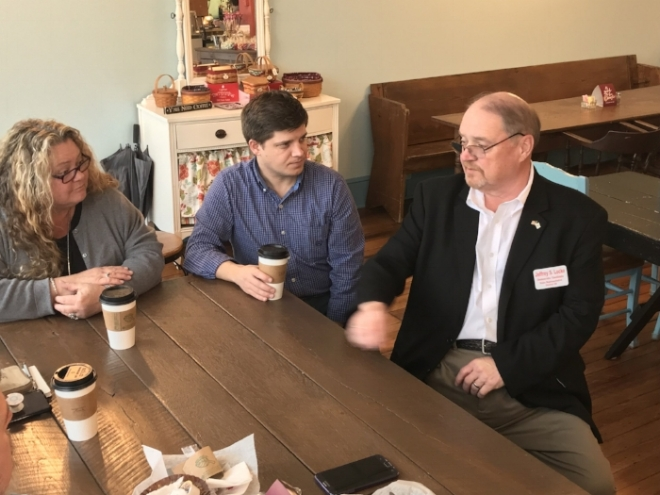 "Jeff chatting with citizens at a recent ""Coffee With the Candidates"" event"
