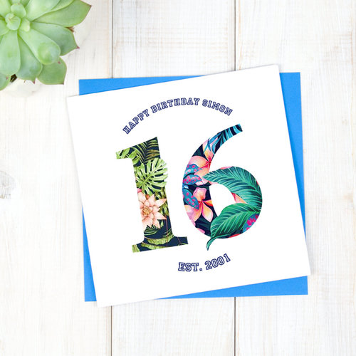 Personalised Hawaiian 16th Birthday Card Chi Moi
